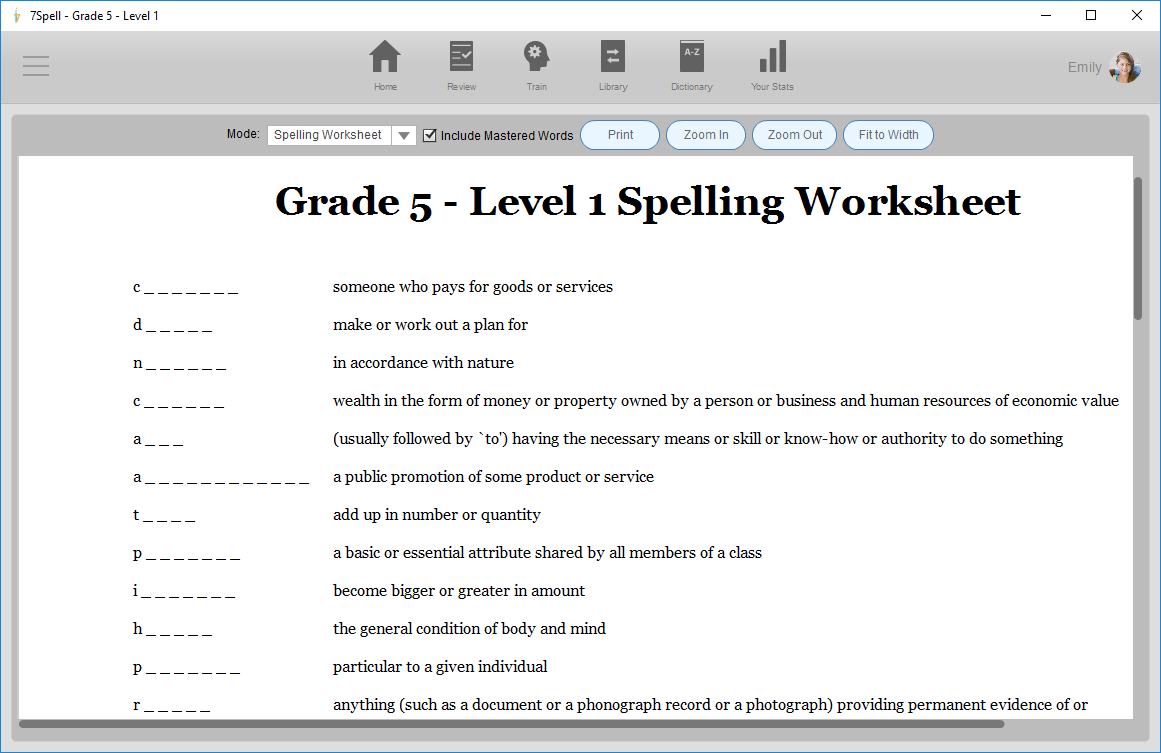 7spell – Vocabulary Builder Worksheets